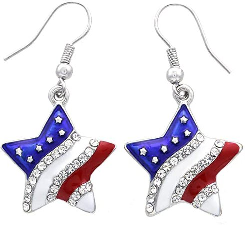 Amazon.com: Patriotic Red White Blue American USA Flag Star Dangle Drop Earrings 4th of July Independence Day Gift (Star Hook): Red White And Blue Jewelry: Jewelry