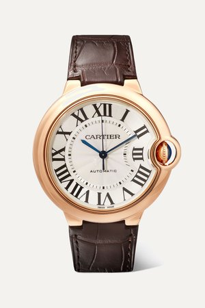 Rose gold Ballon Bleu de Cartier 36mm 18-karat pink gold and alligator watch | Cartier | NET-A-PORTER