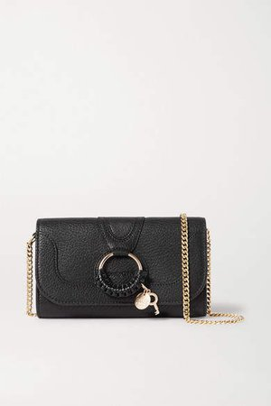 Hana Textured-leather Shoulder Bag - Black