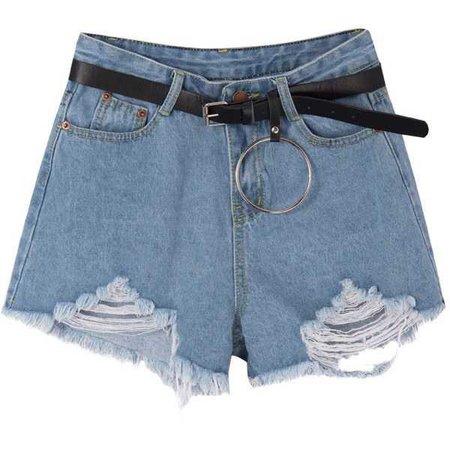 Frayed Hem Denim Shorts With Ring-Detailed Belt Set ($27)