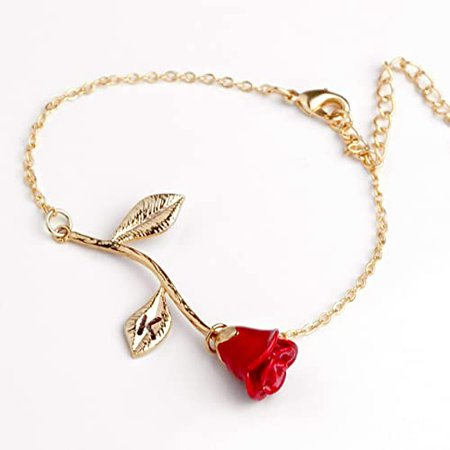 Amazon.com: Red Petal Rose Bracelet in Gold Beauty and the Beast Rose Bracelet Initial Bracelet Christmas Gifts for Mom (K): Handmade