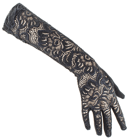 Long Black Fine Lace Gloves – Black.co.uk