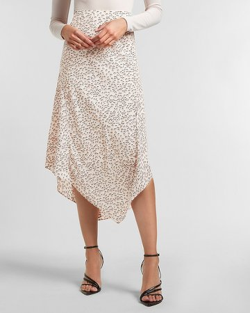 High Waisted Cheetah Asymmetrical Midi Skirt