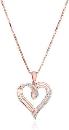 Diamond Double Heart Pendant Necklace