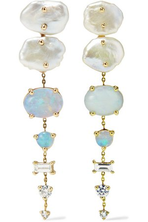Wwake   + NET SUSTAIN 14-karat gold multi-stone earrings   NET-A-PORTER.COM