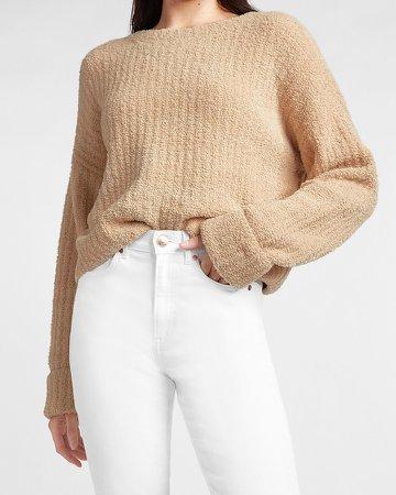 Plush Ribbed Crew Neck Sweater