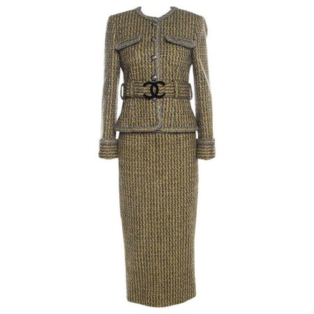 Chanel Yellow and Grey Fantasy Tweed Belted Blazer and Dress Set M For Sale at 1stdibs