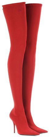 BALENCIAGA Red Knife Thigh Boots