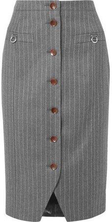 Pinstriped Wool-blend Pencil Skirt - Gray