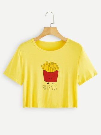 1Plus1 Girls Cartoon French Fries BFF Print Crop Tee