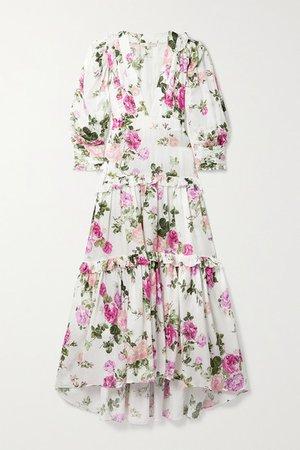 Venetian Island Ruffled Floral-print Matte-satin Maxi Dress - White