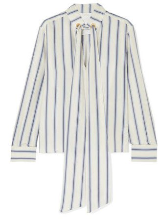 Pussy-bow Striped Silk-georgette Blouse - White