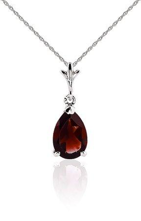 Garnet + Silver Necklace Pendant