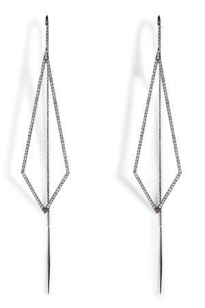 18K Black Gold Triangular Drop Earrings Gr. One Size