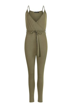 Petite Wrap Front Strappy Jumpsuit | boohoo green