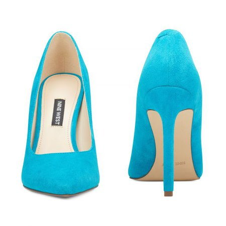 Tatiana Pointy Toe Pumps - Teal Suede | Women Shoes & Handbags for Women
