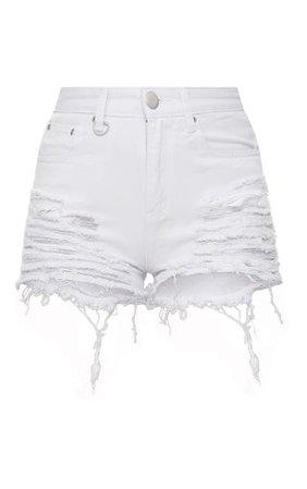 Jeanie White Extreme Ripped Denim Shorts | PrettyLittleThing