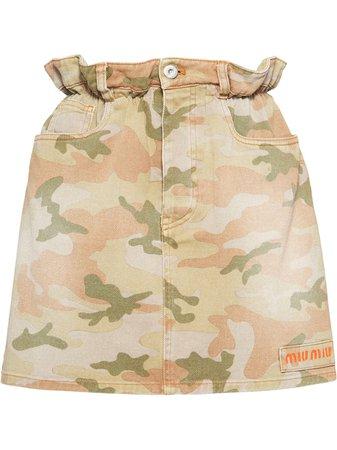 Miu Miu Camouflage Denim Mini Skirt - Farfetch