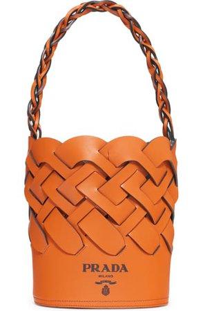 Prada Intreccio Calfskin Leather Bucket Bag | Nordstrom
