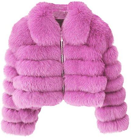Rvxigzvi Womens Faux Fur Coat Plus Size Parka Jacket Long Trench Winter Warm Thick Outerwear Overcoat XS-4XL (Light Pink-, US XL/16-18) at Amazon Women's Coats Shop