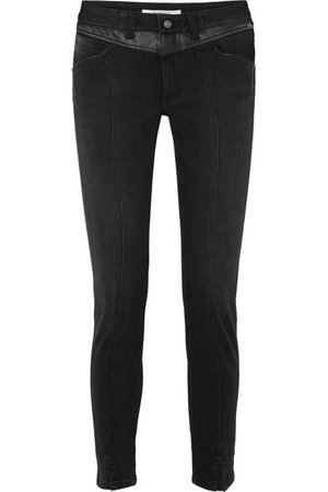 Givenchy   Leather-trimmed mid-rise straight-leg jeans   NET-A-PORTER.COM