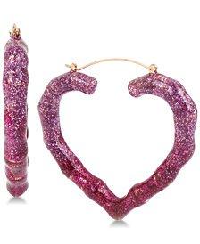 Betsey Johnson Gold-Tone Glitter Heart Hoop Earrings - Fashion Jewelry - Jewelry & Watches - Macy's