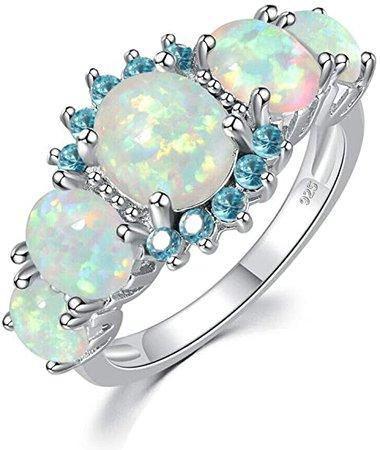 Amazon.com: CiNily Rhodium Plated Created Orange Fire Opal Orange Garnet Women Jewelry Gemstone Ring Size 5: Jewelry