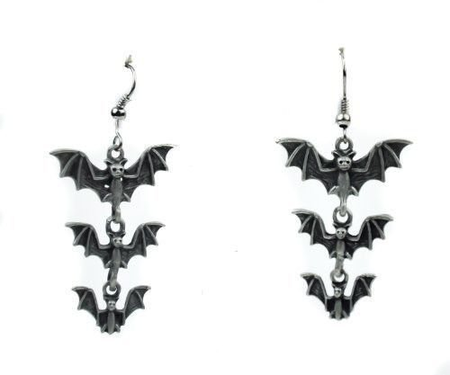 3 Bats Hanging Gothic Earrings Cosplay