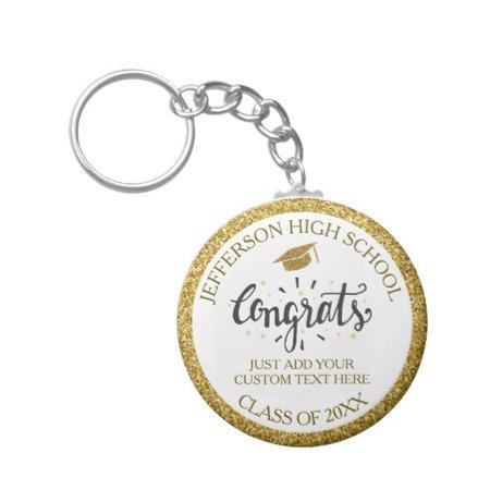 Custom Graduation Congrats Grad Gold Class of 2019 Key Ring | Zazzle.co.uk