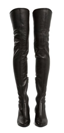 thigh high black boots leather