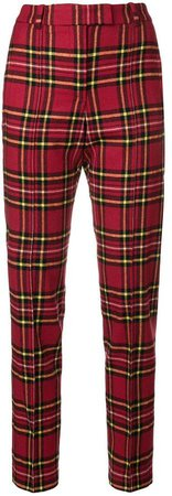 tartan fitted trousers