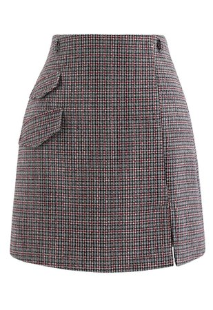 Flap Pocket Houndstooth Check Wool-Blend Mini Skirt - Retro, Indie and Unique Fashion