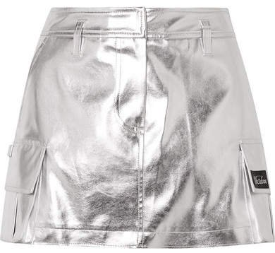 Appliquéd Metallic Faux Leather Mini Skirt - Silver