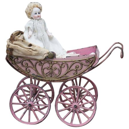 Antique German a Very Fancy Soft Metal Filigree Carriage with All : RespectfulBear | Ruby Lane