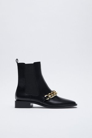 LOW HEEL CHAIN ANKLE BOOTS | ZARA United States BLACK