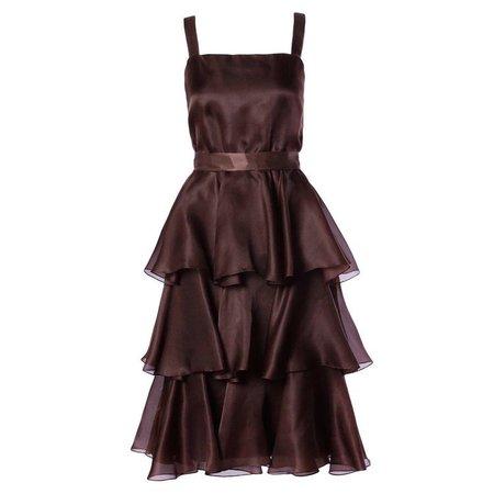 bill blass vintage chocolate brown party dress
