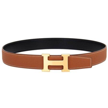 Hermes Belt Kit 85cm Gold Tan and Black Reversible H 32mm Gold Buckle Gift at 1stdibs