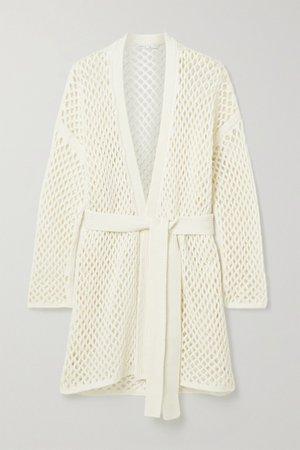 White Belted open-knit cardigan | Agnona | NET-A-PORTER