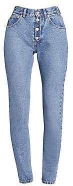 Balenciaga Women's Tube Exposed Button-Fly Jeans
