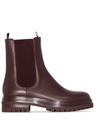 Gianvito Rossi, Ankle Height Chunky Burgundy Boots