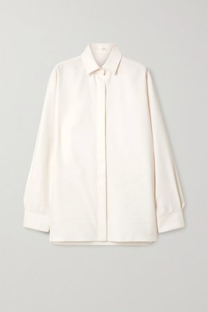 Ivory Big Sisea oversized wool and silk-blend poplin shirt | The Row | NET-A-PORTER