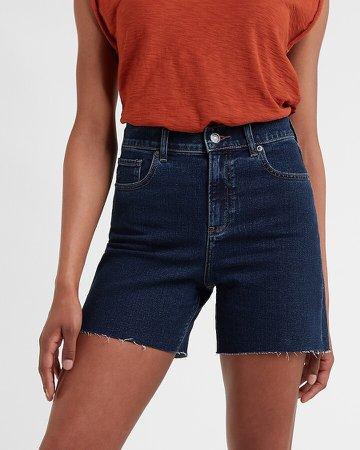 High Waisted Dark Wash Raw Hem Jean Shorts