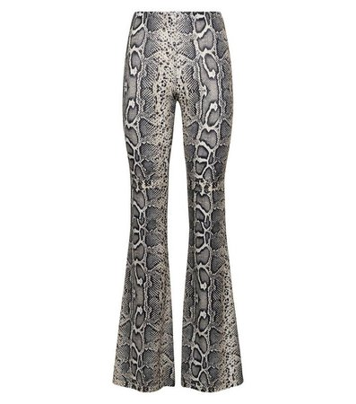 Brown Snake Print Glitter Flared Trousers   New Look