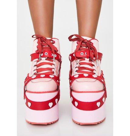 Y.R.U. Qozmo Heart Platform Sneakers | Dolls Kill
