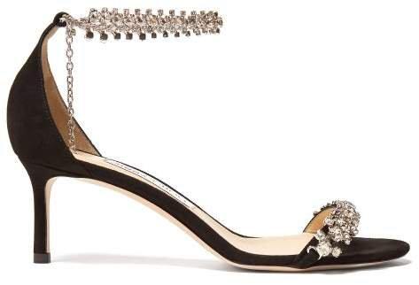 Shiloh 60 Crystal Bracelet Suede Sandals - Womens - Black