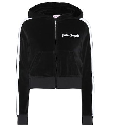 Cropped velour hoodie