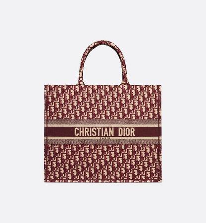 Burgundy Dior Oblique Embroidered Dior Book Tote - Bags - Women's Fashion | DIOR