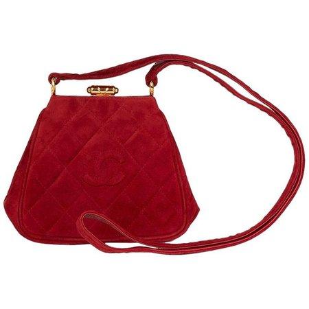 1993 Chanel Red Quilted Velvet Timeless Frame Bag For Sale at 1stdibs