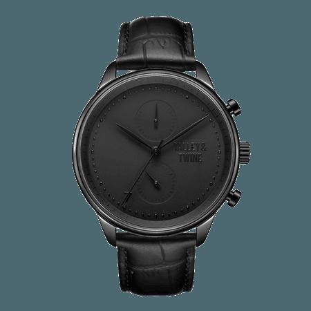 Black Chronograph Watch - Black Leather – Talley & Twine Watch Company