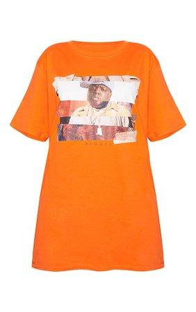 Orange Biggie Print Oversized T Shirt | Tops | PrettyLittleThing USA